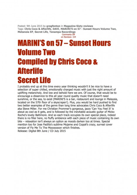 coppé featured on sunset hours !